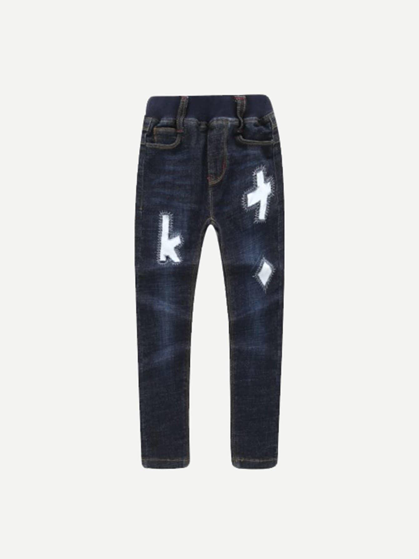 все цены на Girls Letter Patches Jeans