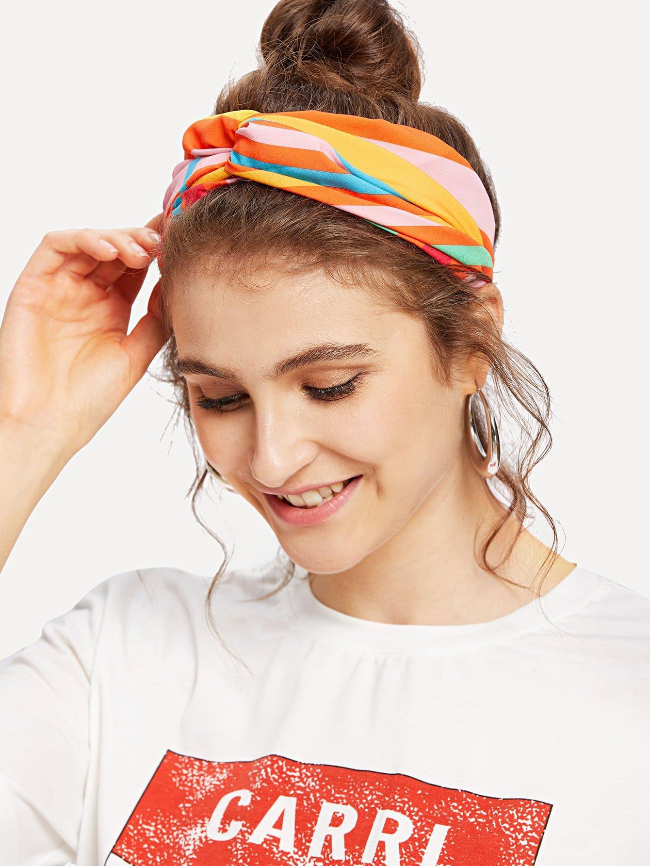 Striped Twist Detail Headband twist detail tee