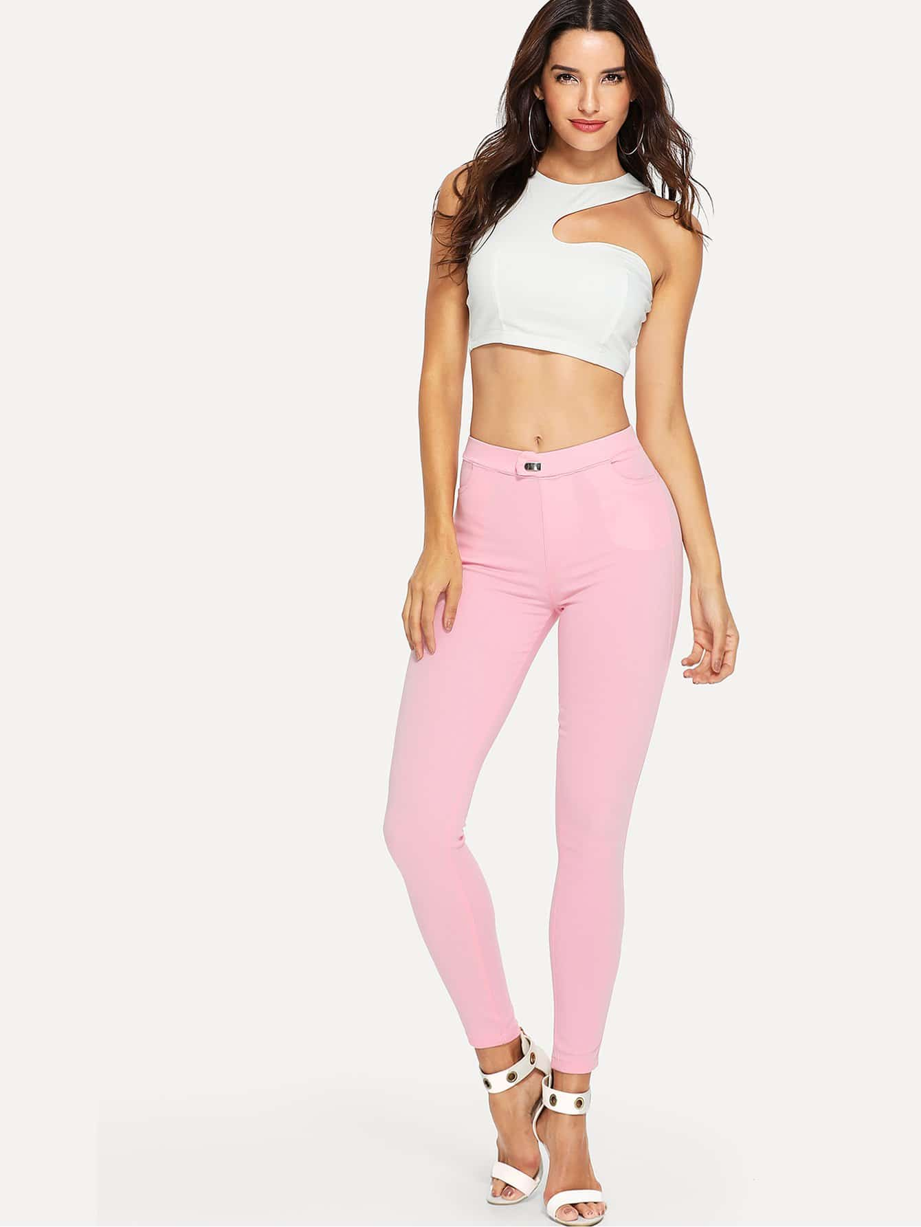 Skinny Button Jeans button design mid waist skinny jeans