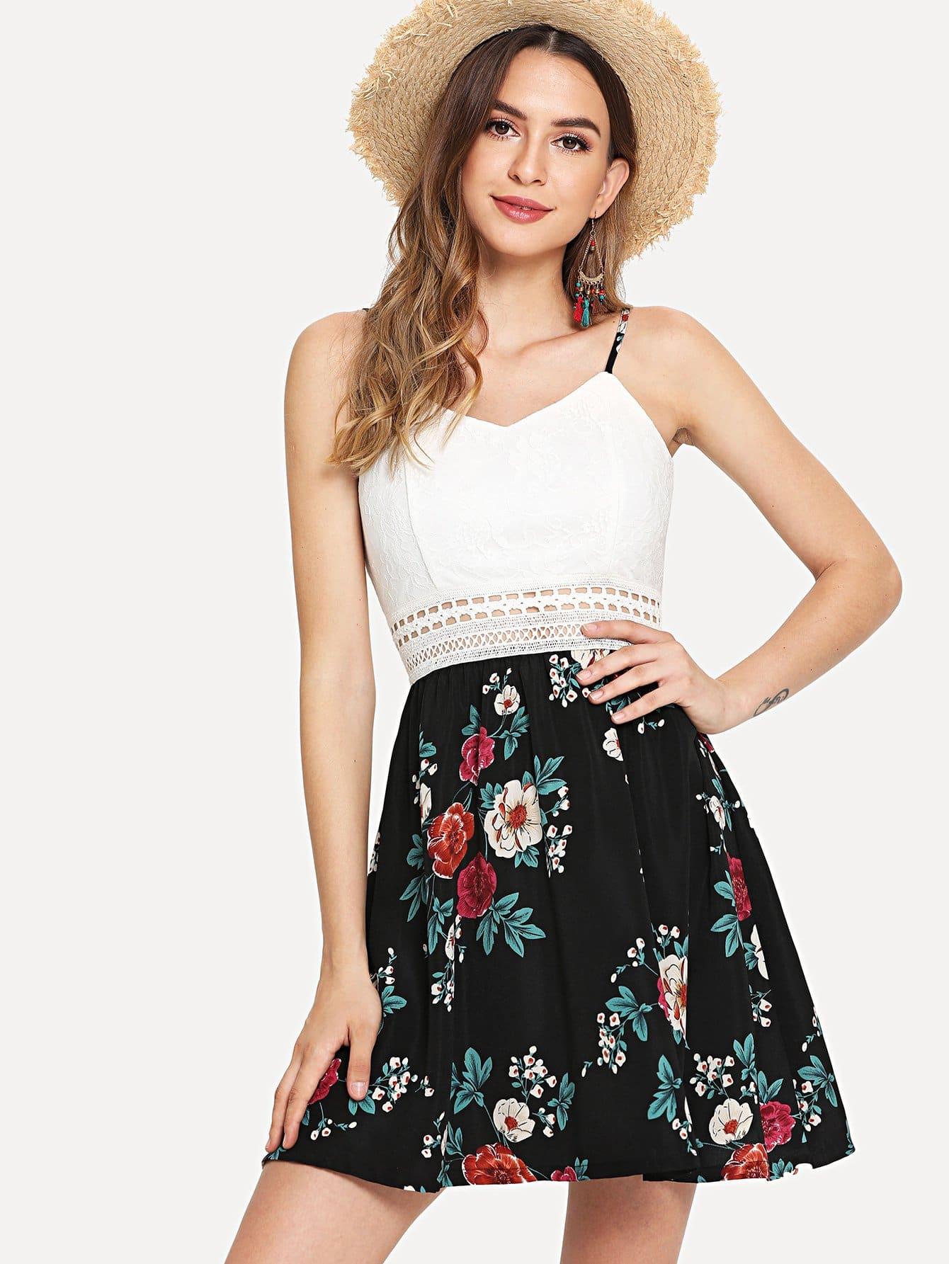 Cut Out Detail Lace Bodice Floral Cami Dress cami floral cut out tankini set