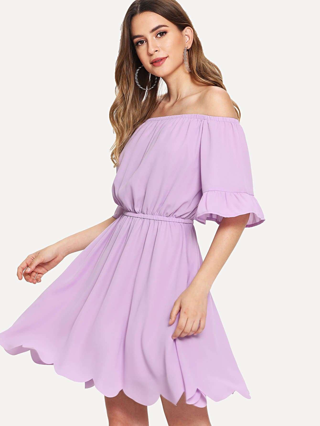 Elastic Neckline and Waist Scallop Edge Bardot Dress bardot neckline scallop hem dress