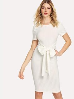 Bow Tie Front Rib Knit Dress