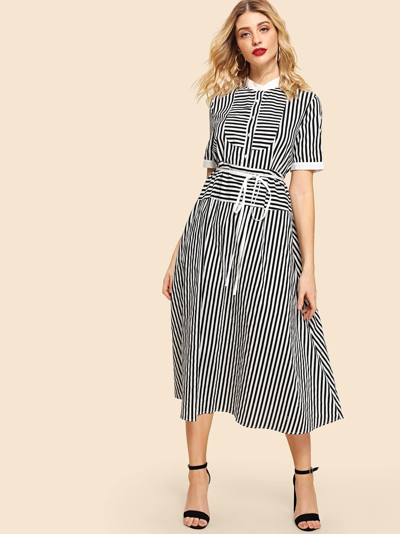 Mock Neck Button Front Tie Waist Striped Dress tie neck elastic waist glitter dress
