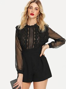 Floral Lace Applique See Through Bodice Romper