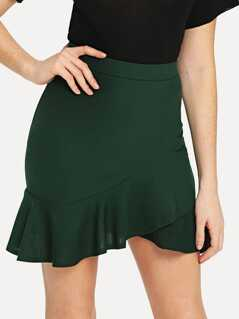 Asymmetrical Ruffle Hem Wrap Skirt