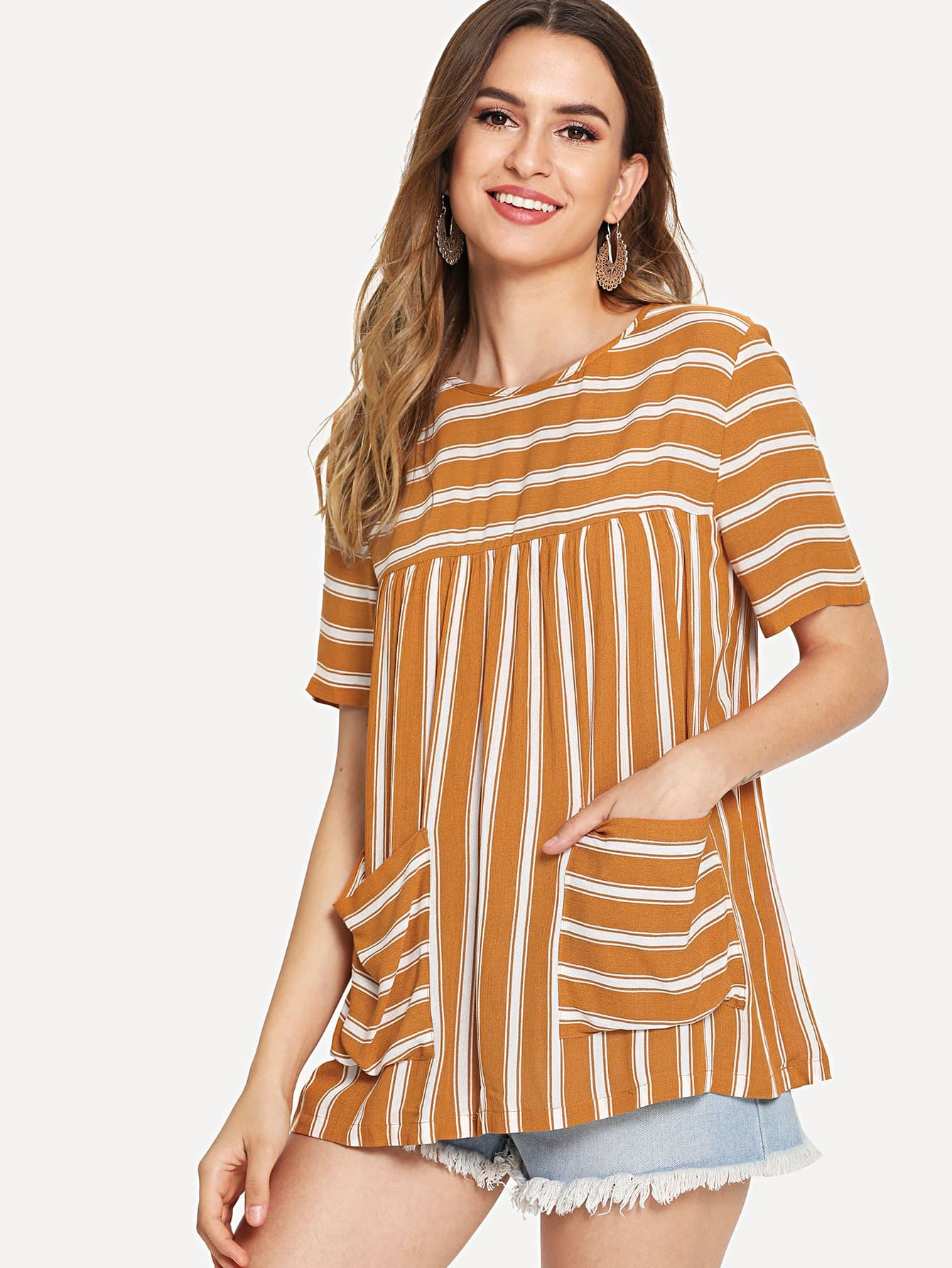 Dual Pocket Front Striped Tunic Top striped front pocket tank top