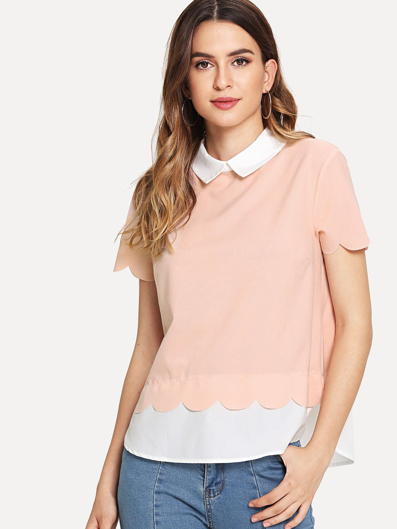 Scalloped Trim 2 in 1 Blouse scalloped lace trim bardot blouse