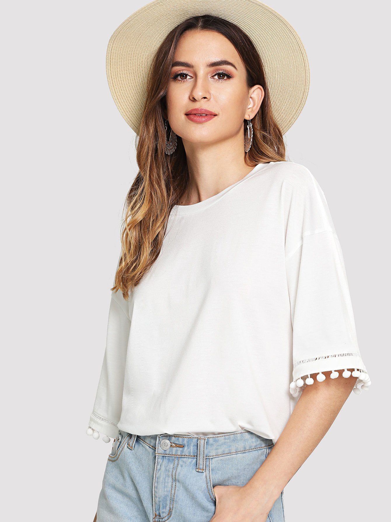 Drop Shoulder Pom Pom Trim Tee open shoulder pom pom trim top