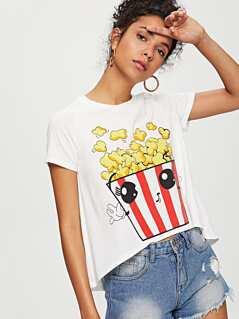 Popcorn Print Raglan Sleeve T-shirt