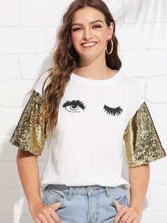 Sequin Sleeve Wink Eyes Print Tee