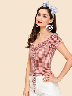 Lace Up Front Frilled Gingham Blouse