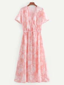 Surplice Neckline Drawstring Dress