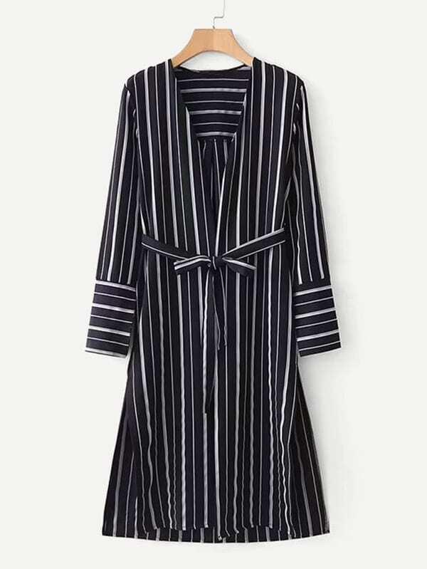 Slit Side Striped Kimono slit side asymmetrical hem embroidery mesh kimono