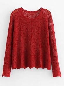 Open-Knit Wave Hem Sweater