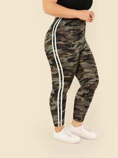 Plus Contrast Striped Side Camo Print Leggings