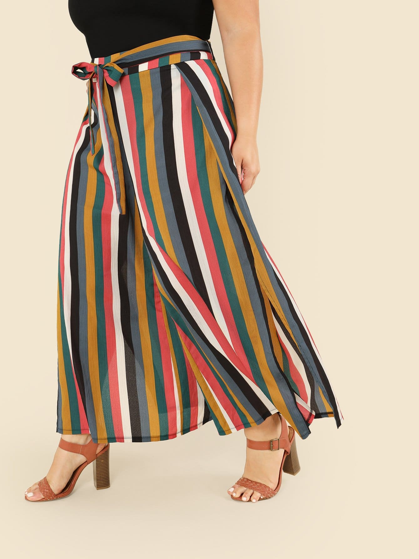 Knot Front Wide Leg Striped Pants knot front wide leg printed jumpsuit