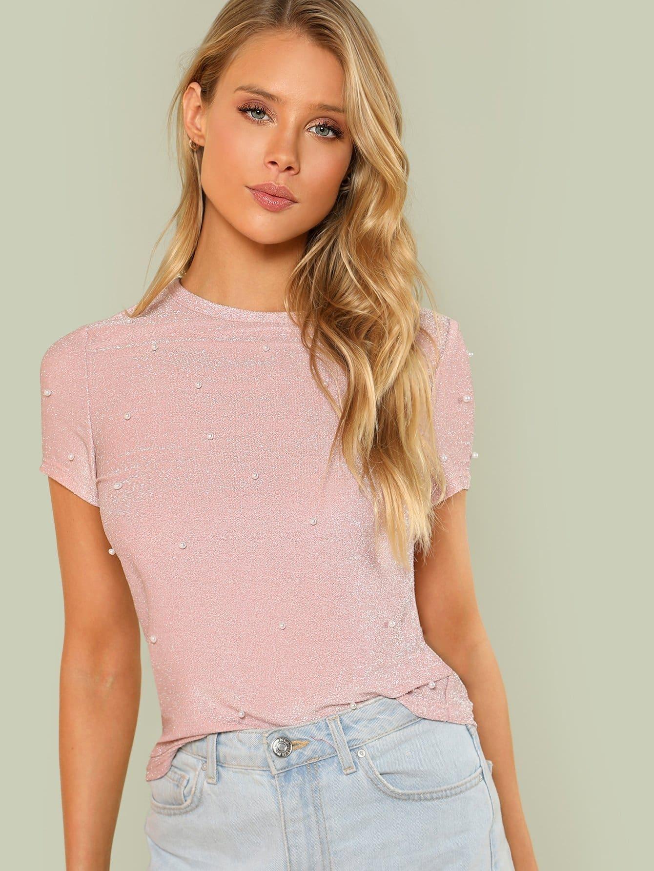 Купить Блестящая футболка с жемчужинами, Allie Leggett, SheIn