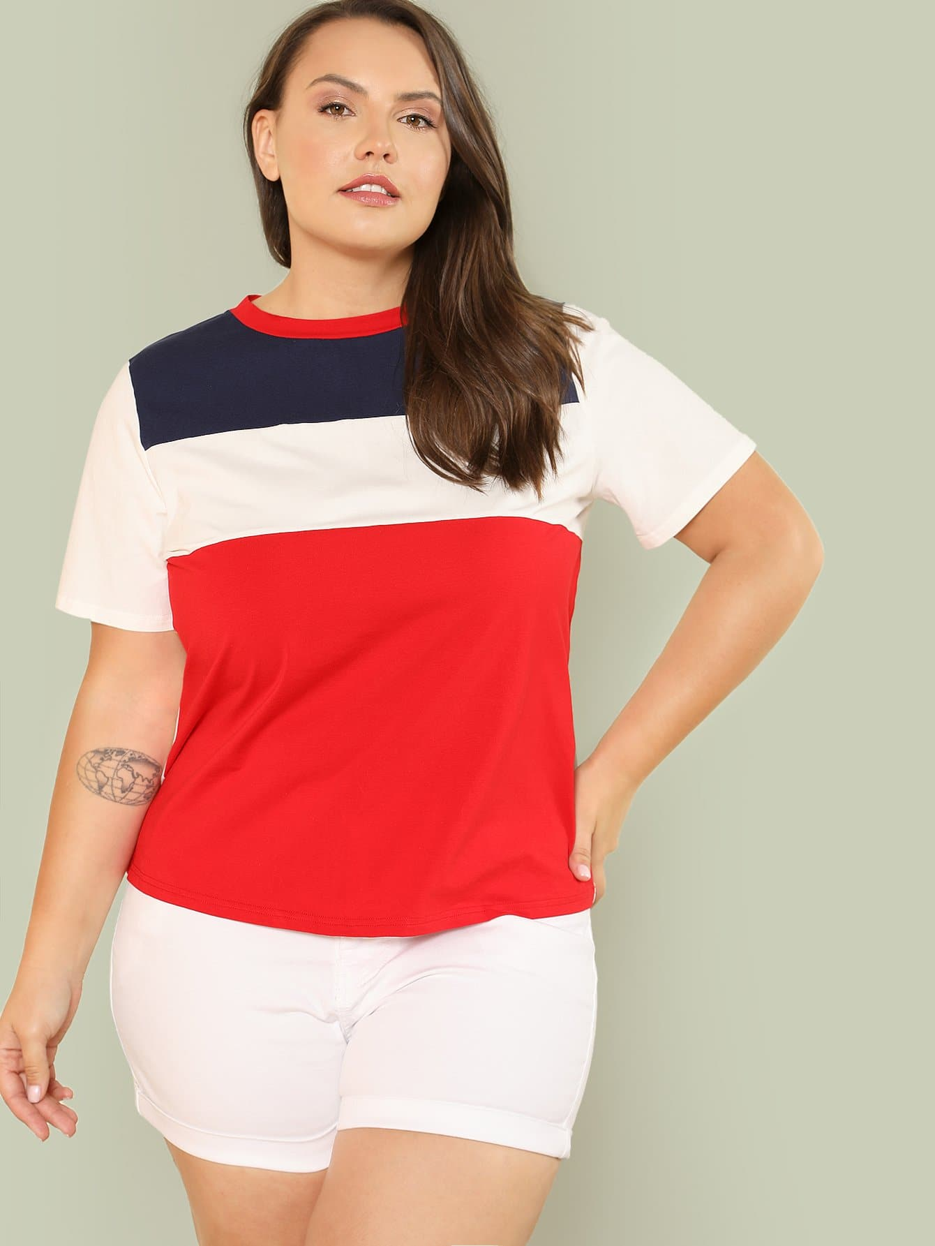 Colorblock Round Neck Tee colorblock lace up tee