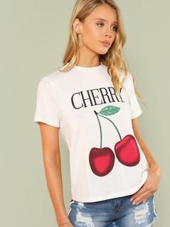Letter & Cherry Print T-shirt