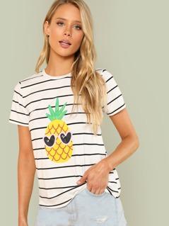 Pineapple Print Striped Tee