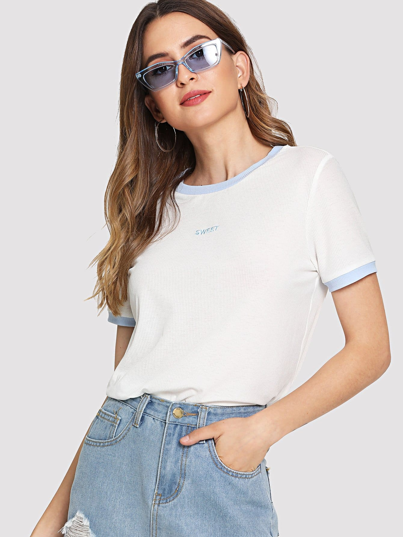 Letter Embroidered Rib Knit Tee letter embroidered ribbed knit top