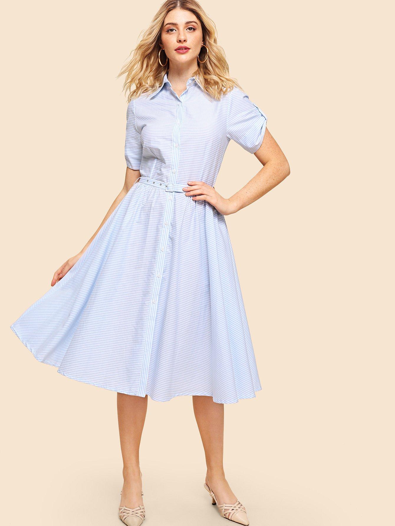 Купить Платье рубашка с полосками и поясом, Nathane, SheIn