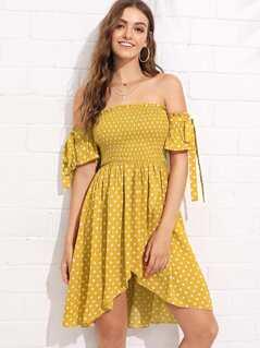 Smocked Bodice Polka Dot Wrap Bardot Dress