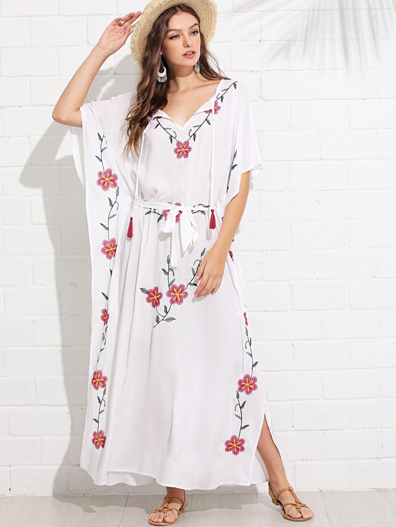 Купить Платье пончо с вышивкой и кисточками, Luiza, SheIn