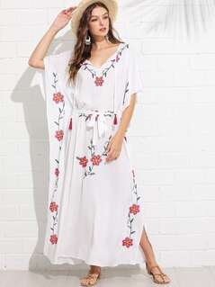 Tassel Tie Flower Embroidered Belted Poncho Dress