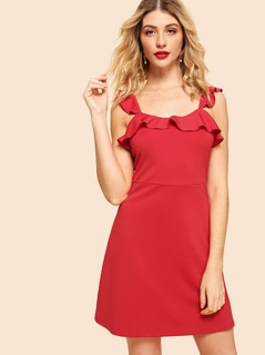 Ruffle Trim A-Line Dress