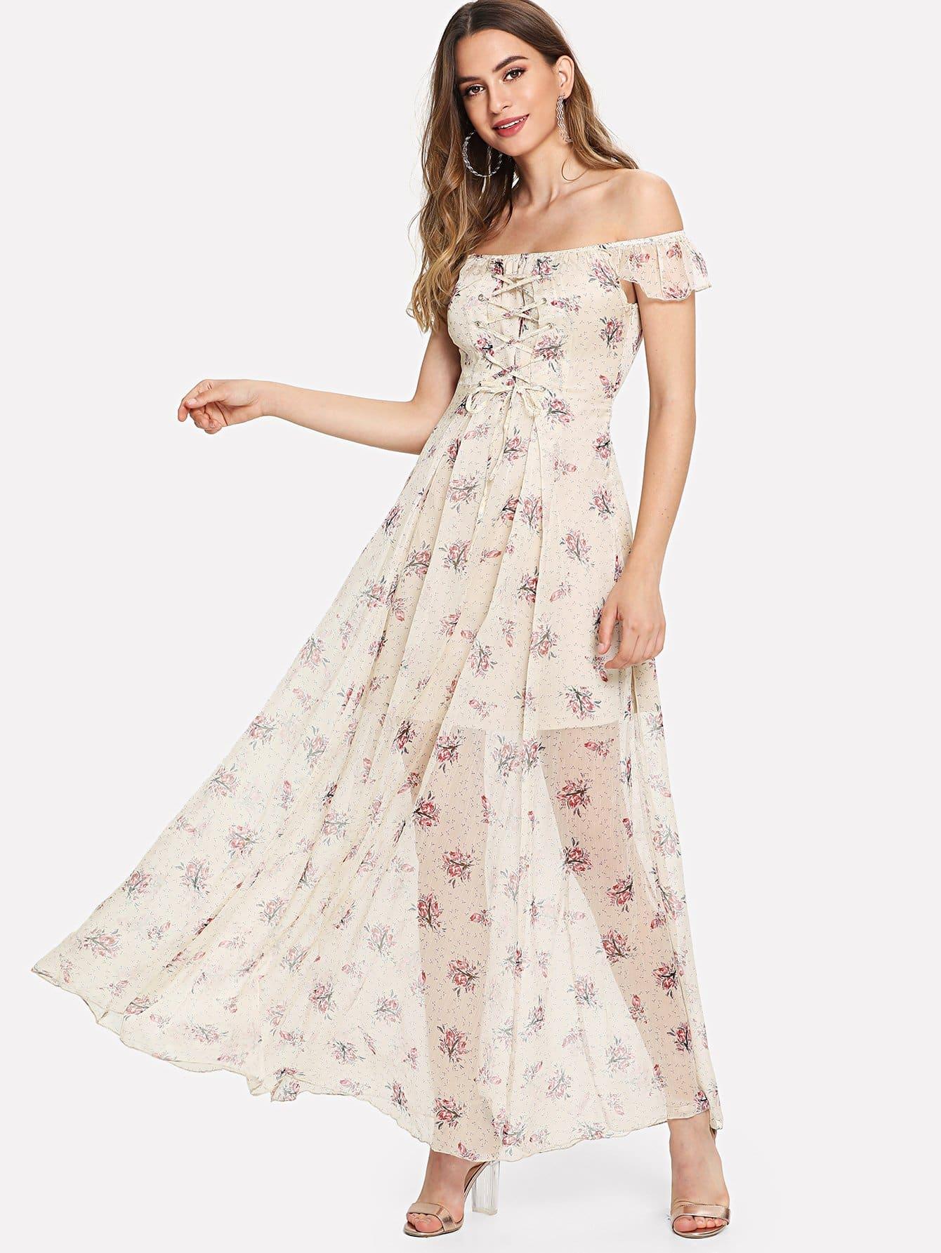 Off Shoulder Ditsy Dress off shoulder ditsy dress