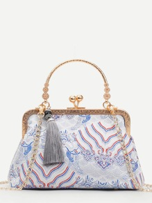 Tassel Decor Kiss Lock Chain Bag