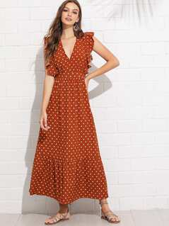 Ruffle Trim Polka Dot Dress