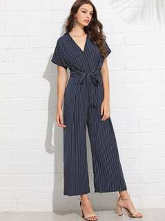 Self Belted Pinstripe Wide Leg Jumpsuit