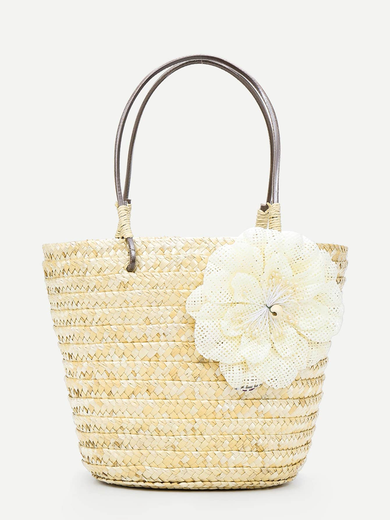 Flower Detail Woven Tote Bag bow decor flower woven tote bag