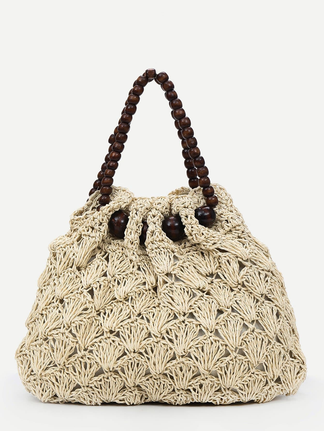 Woven Tote Bag With Wood Beads Handle