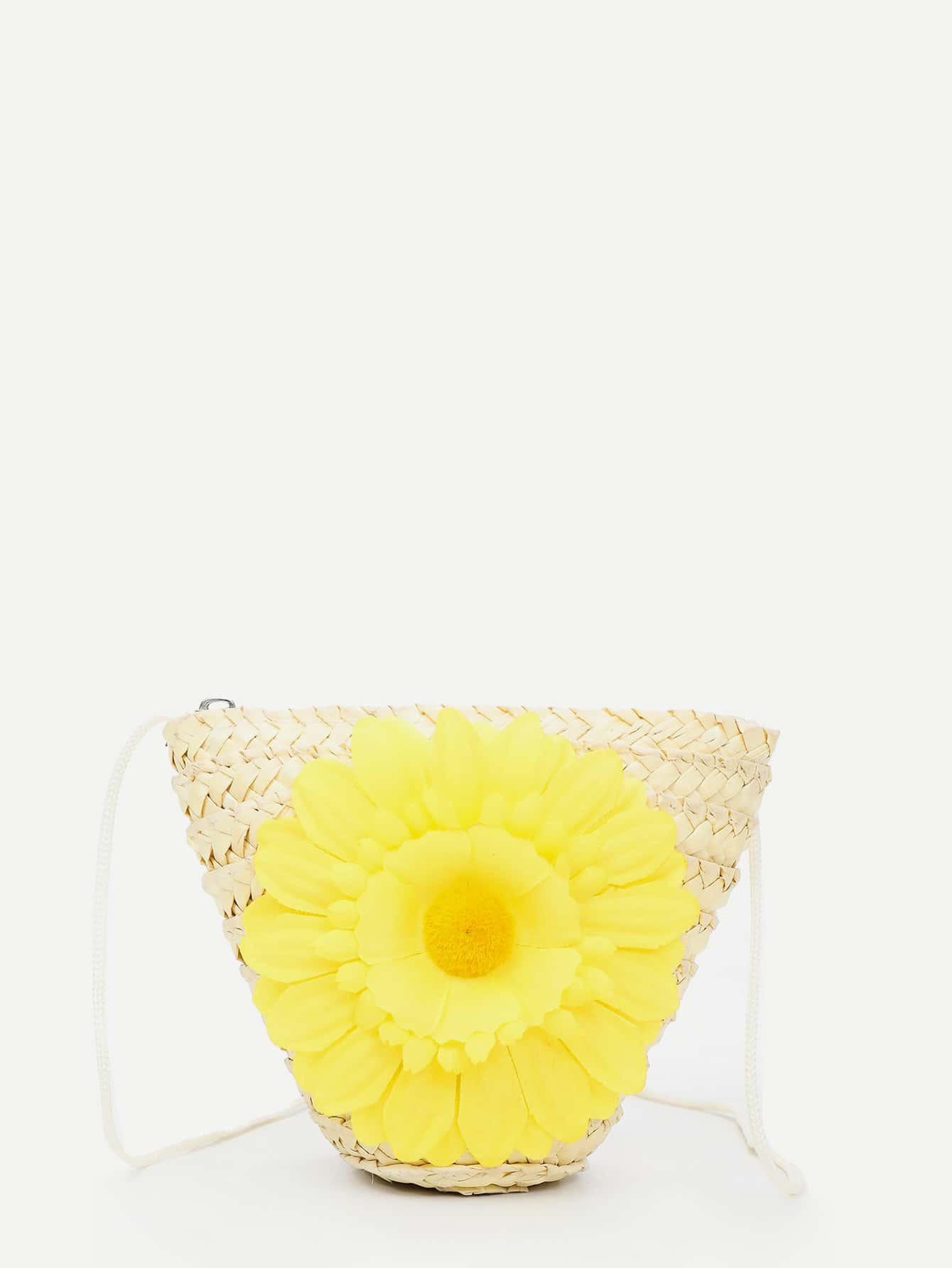 Flower Decor Woven Bag bow decor flower woven tote bag