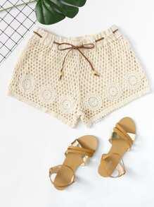 Drawstring Waist Eyelet Geo Crochet Shorts