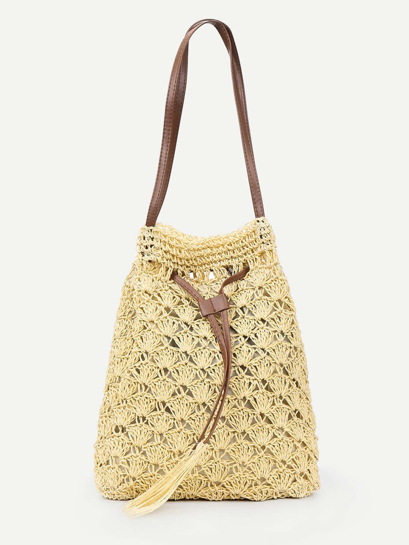 Drawstring Woven Tote Bag bow decor flower woven tote bag