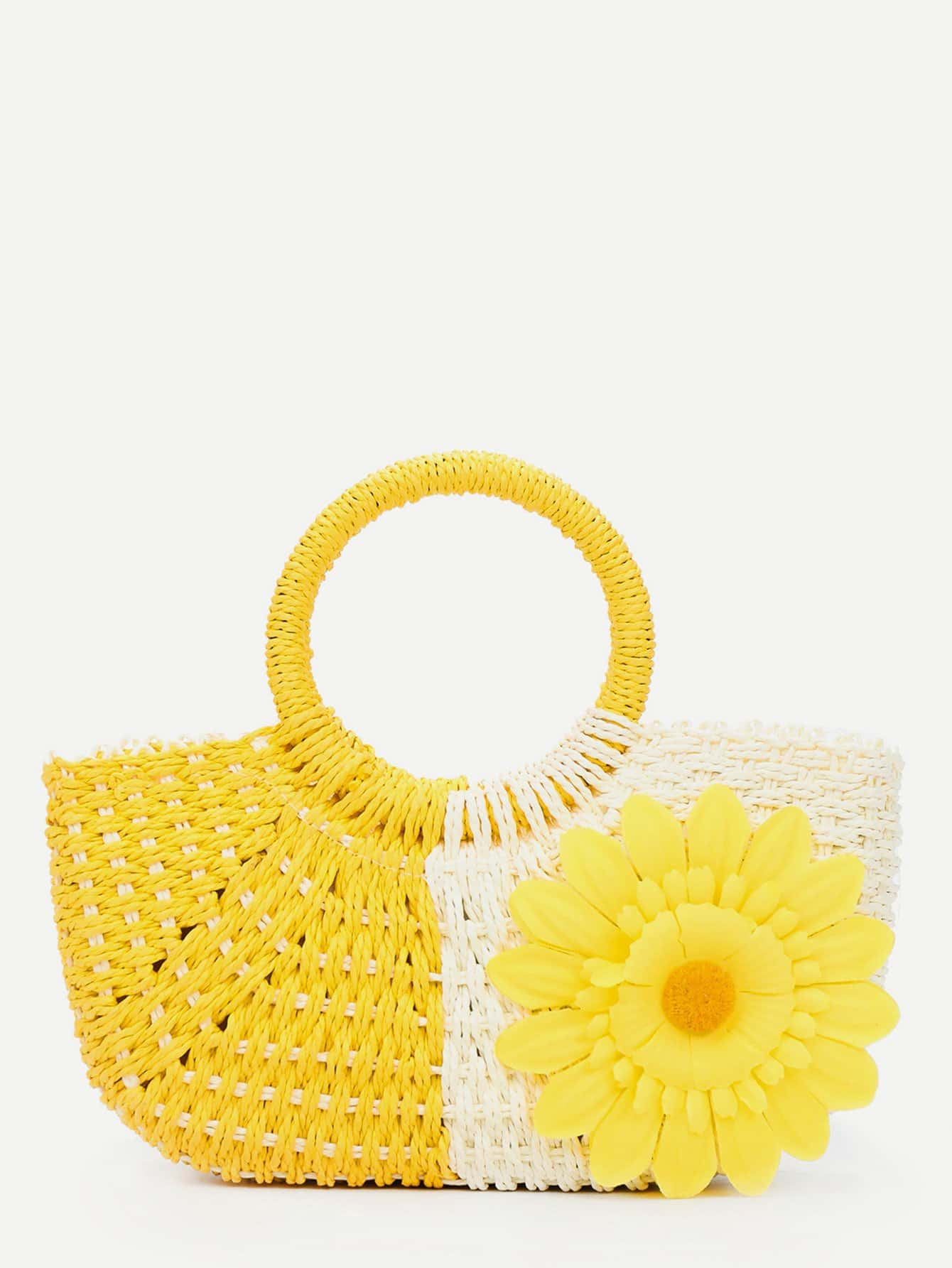 Flower Decor Straw Tote Bag bow decor flower woven tote bag
