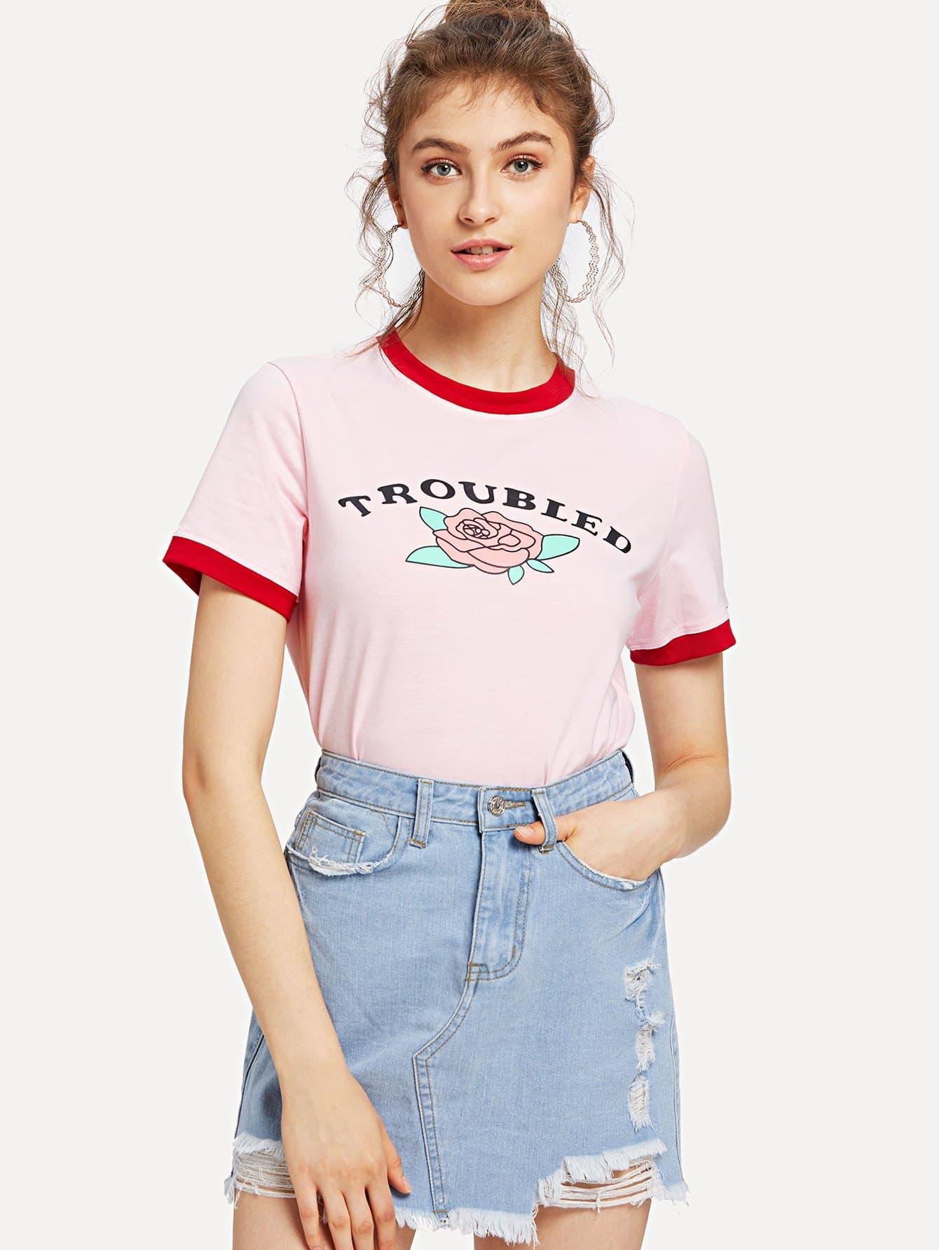 Letter and Flower Print Ringer T-shirt redfox футболка flower t 42 4300 желтый