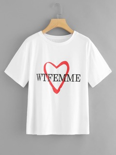 Heart and Letter Print T-shirt