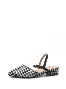 Houndstooth Low Heeled Pumps