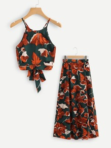 Flower Print Crop Halter Top & Skirt Set