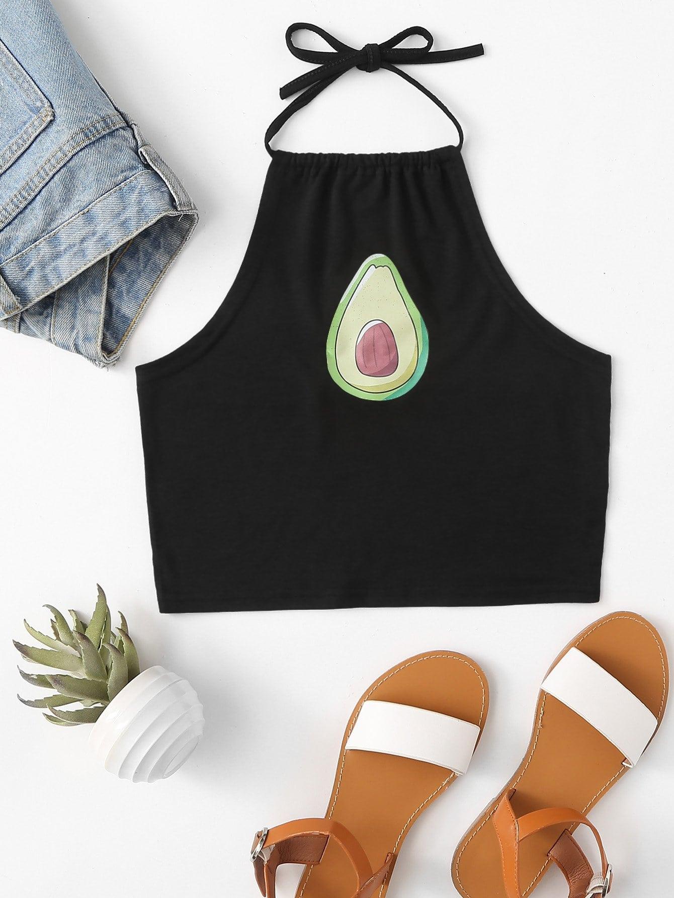 Купить Топ хальтер с принтом авокадо, null, SheIn