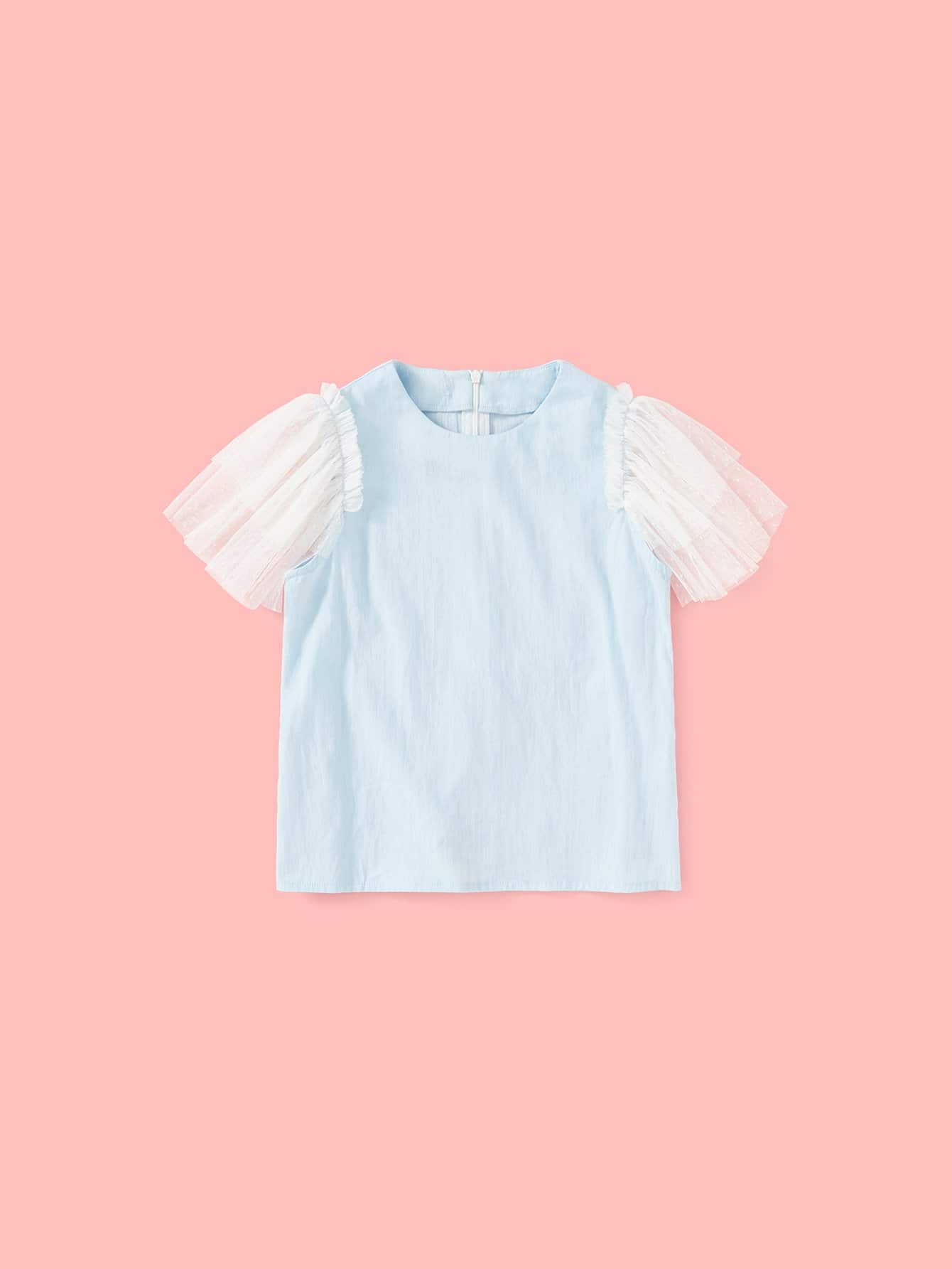 Layered Flounce Mesh Sleeve Zip Back Top mesh contrast flounce sleeve top