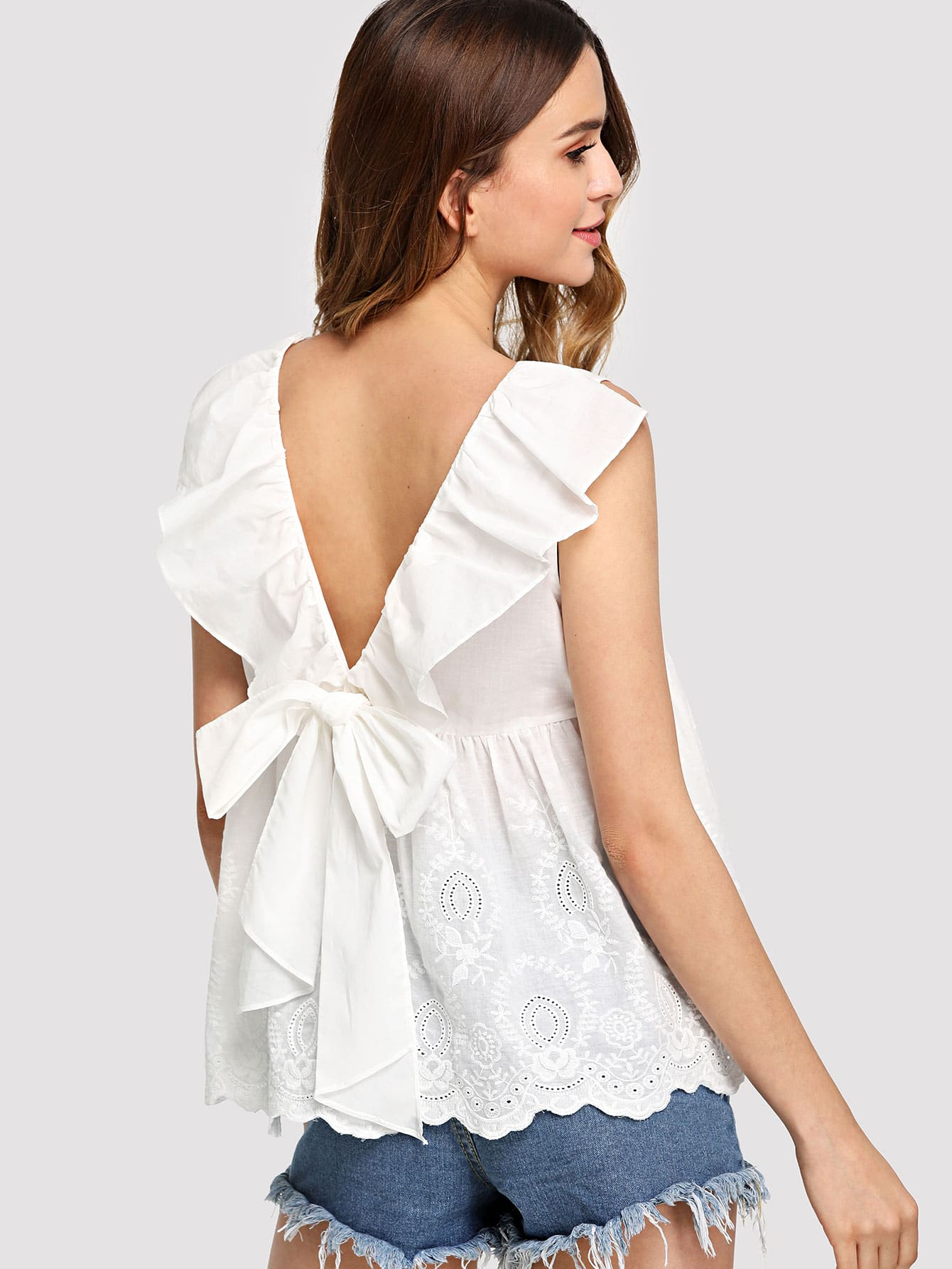 Bow Tie Ruffle V-Back Embroidered Top цена и фото