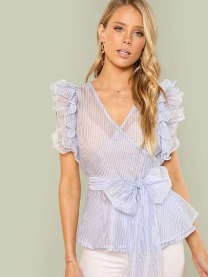 Tiered Ruffle Shoulder Semi Sheer Striped Blouse