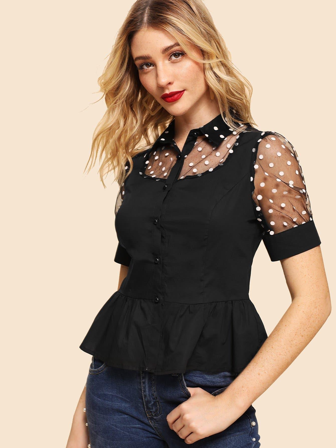 Купить Рубашка для рубашки из полоски Polka Dot Mesh, Nathane, SheIn