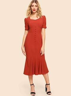 Button Front Wide Waistband Fishtail Dress